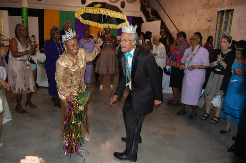 The Mardi Gras Ball Queen, Barbara Pierre and King, Eustis Guillemet dance at the Ashe Cultural Center on Thursday, Feb. 17. (via the Mercy Endeavors Senior Center)