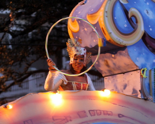 A rider in the Krewe of Oshun parade. (Robert Morris, UptownMessenger.com)