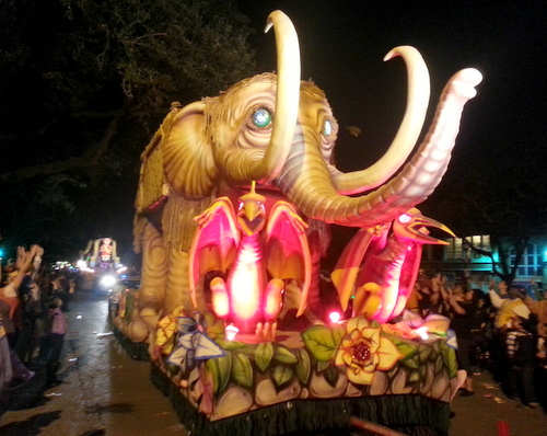 "The Krewe of Pygmalion's signature ""Pygmammoth"" float rolls up Napoleon Avenue. (Robert Morris, UptownMessenger.com)"