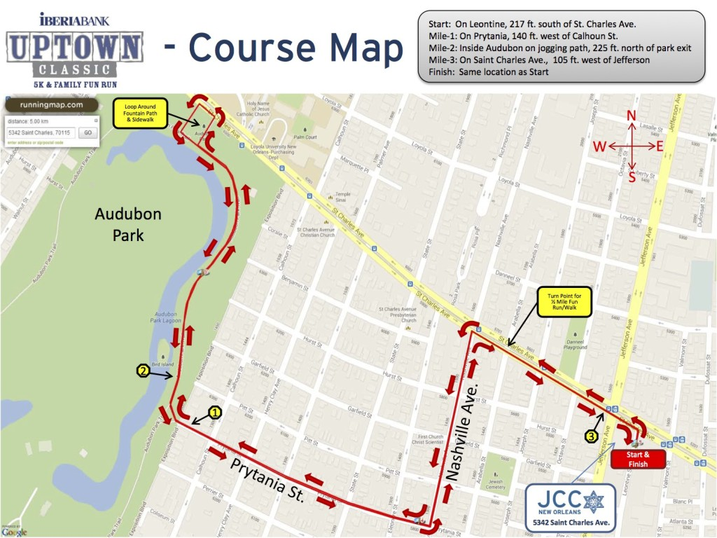 The Uptown 5K and Family Run route map (via nolarunning.com)