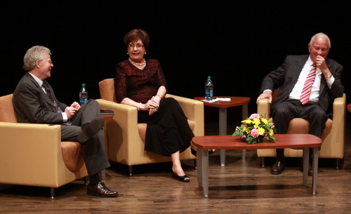 Former Louisiana Govs. Buddy Roemer, Kathleen Blanco and Edwin Edwards share a laugh during one of the lighter moments during Wednesday night's panel discussion at Loyola University. (Robert Morris, UptownMessenger.com)