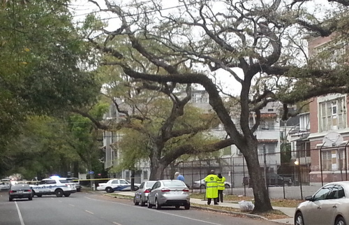 Authorities investigate a death in the 4400 block of Prytania Street on Thursday evening. (Robert Morris, UptownMessenger.com)