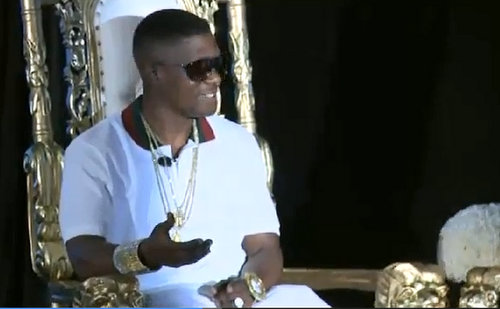 "Torence ""Lil Boosie"" Hatch speaks at a news conference Monday. (via boosiespeaks.com)"