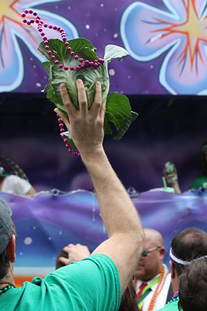 A parade goer catches a cabbage, prize throw of the Irish Channel Parade.