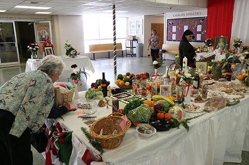 Food offerings at De La Salle's St. Joseph altar. (Zach Brien, UptownMessenger.com)