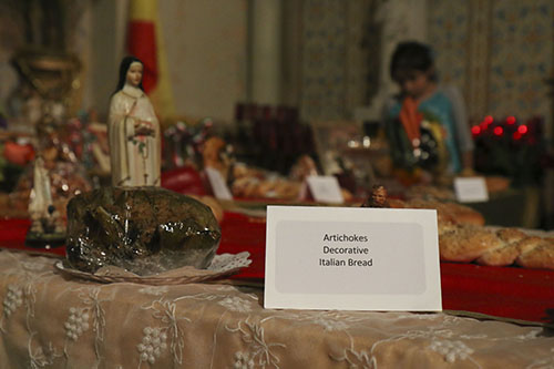 Stuffed artichoke offering at St. Stephen's Saint Joseph's altar. (Zach Brien, UptownMessenger.com)