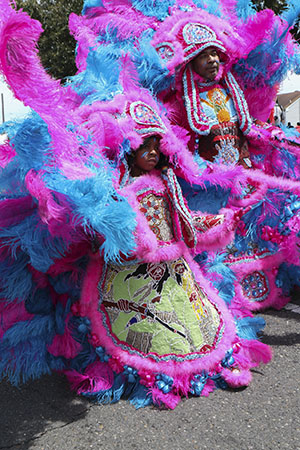 White Cloud Hunters Mardi Gras Indians on Super Sunday 2014. (Zach Brien, UptownMessenger.com)
