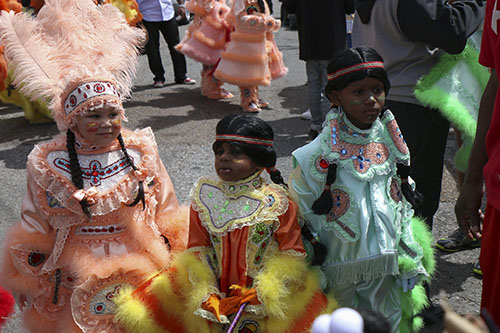 Young Creole Wild West Mardi Gras Indians on Super Sunday 2014. (Zach Brien, UptownMessenger.com)