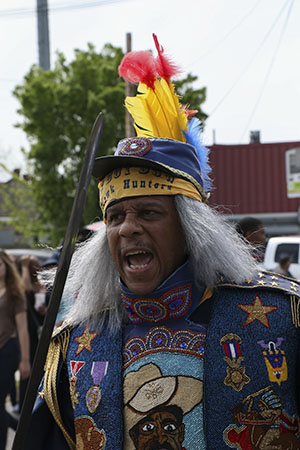 Spy boy of the Mohawk Hunters Mardi Gras Indians on Super Sunday 2014. (Zach Brien, UptownMessenger.com)