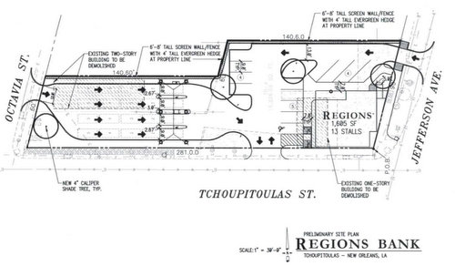 Plans for a new Regions Bank to replace the Roly Poly and an adjacent house on Tchoupitoulas by architect Richard Whitston of Kentucky. (via New Orleans City Council)