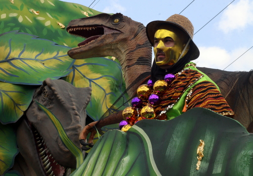A rider on the Jurassic Park float. (Robert Morris, UptownMessenger.com)