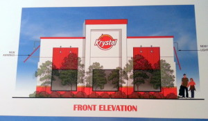 Rendering of the new Krystal burger restaurant planned for South Claiborne Avenue. (Rendering by Mouton Long Turner Architects)