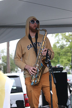 Lagniappe brass band at the Freret St. Festival. (Zach Brien, UptownMessenger.com)