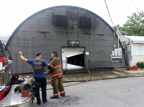The Hangar nightclub on South Rendon Street was damaged by fire Wednesday afternoon. (Robert Morris, UptownMessenger.com)