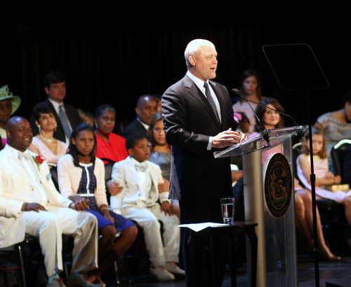 Mayor Mitch Landrieu delivers his inaugural address as members of the City Council watch on Monday morning at the Saenger Theatre. (Robert Morris, UptownMessenger.com)