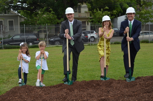 Two students from Newman's Greenie House; Dale M. Smith, Head of School; Ann Thompson '74, Vice Chair of Newman's Board of Governors, and Merritt Lane '79, Chair of Newman's Board of Governors break ground on the Green Trees Early Childhood Center. (submitted photo by Roger Hibbert)