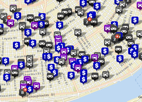 Thefts and burglaries in the NOPD Sixth District since April 6 cluster along Magazine Street and Louisiana Avenue. (Robert Morris, UptownMessenger.com)