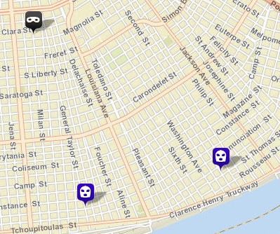 Two robberies and a home invasion were reported Wednesday in the Uptown area. (map via NOPD)