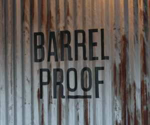 The logo for Barrel Proof on the wall. (Robert Morris, UptownMessenger.com)