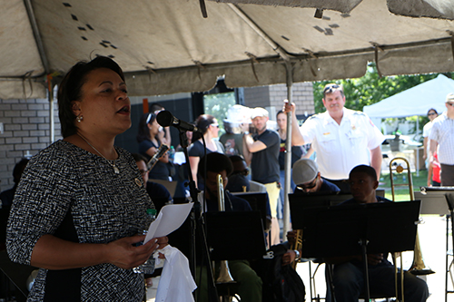 District B councilwoman LaToya Cantrell addresses the crowd before the Orchestra performs. (Zach Brien, UptownMessenger.com)