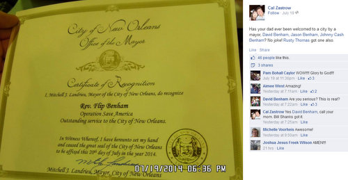 "Mayor's office issues certificate recognizing abortion protest group for ""service"" to New Orleans"