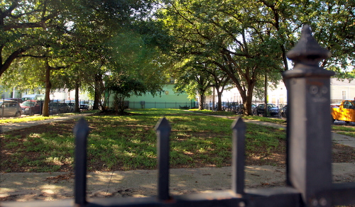 A black iron fence surrounds a green space at Constance and Harmony owned by Ruppert Kohlmaier. (Robert Morris, UptownMessenger.com)