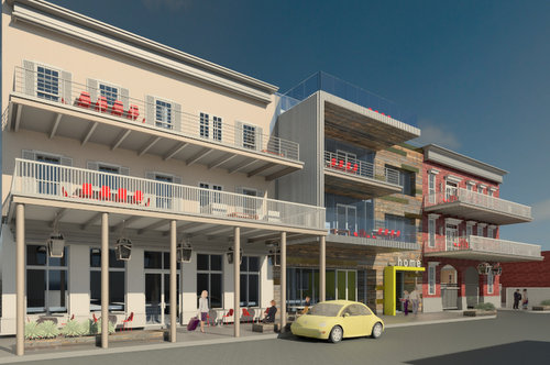 A rendering of the Oak Lofts complex included in the demolition application. (via nola.gov)