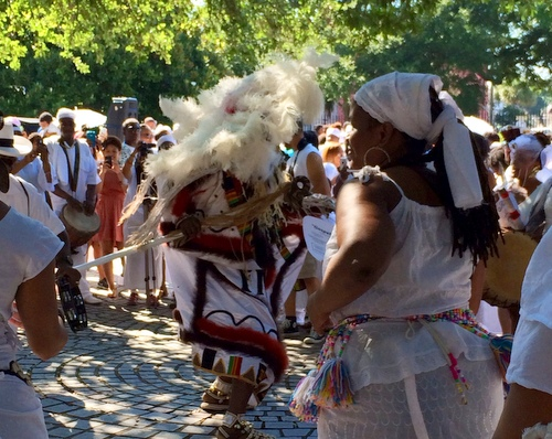 Crowds gather to watch dancing during the Maafa ceremony. (photo by jewel bush for UptownMessenger.com)