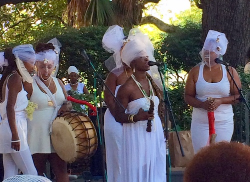 Participants in this weekend's Maafa ceremony sing Yoruba hymns. (photo by jewel bush for UptownMessenger.com)