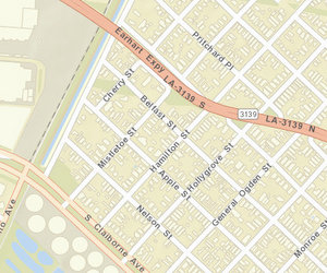 The 2700 block of Mistletoe abuts Earhart Expressway. (map via NOPD)