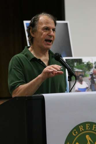 Author and activist John Barry speaks at the GreenARMY Katrina commemoration at Xavier University. (Zach Brien for UptownMessenger.com)