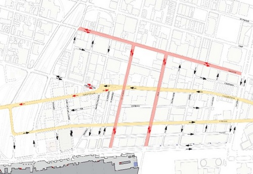 A draft proposal to realign the street grid around the Convention Center (courtesy of the Ernest Morial Convention Center)
