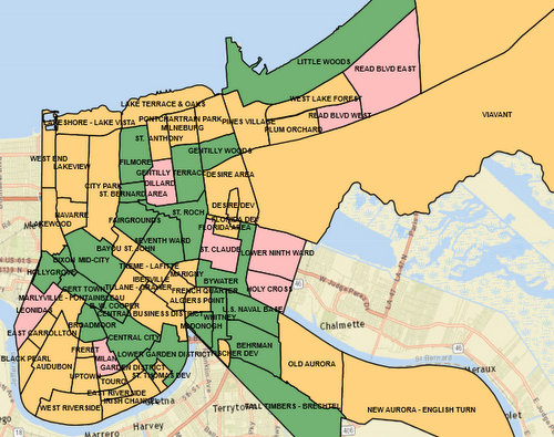 Streetlight repairs have been completed in neighborhoods marked in green, are underway in pink areas, and still to come in orange zones, as of August. (source: nola.gov/DPW)