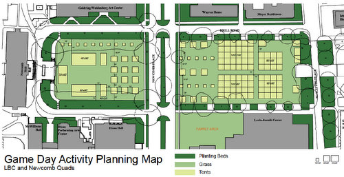 A diagram of on-campus tailgating options on Tulane's central quadrangles. (image via Tulane)