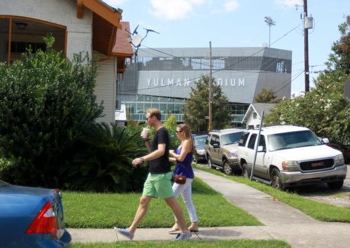 Tulane fans pass Yulman Stadium, seen from Calhoun Street. (Robert Morris, UptownMessenger.com)