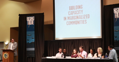 The Young Leadership Council's panel at Rising Tide 9 at Xavier University on Saturday morning. (Robert Morris, UptownMessenger.com)