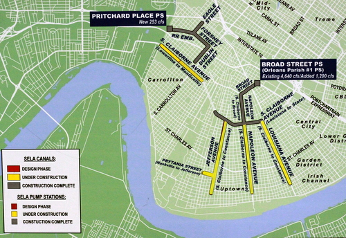 "A map of the Southeastern Louisiana Urban Flood Control now shows the final leg on Louisiana Avenue as ""under construction."" (Robert Morris, UptownMessenger.com)"