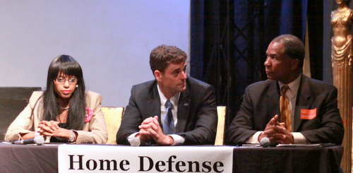 Judicial candidates Marie Williams, Graham Bosworth and Byron C. Williams participate in a candidates' forum sponsored by the Home Defense Foundation of New Orleans. (Robert Morris, UptownMessenger.com)