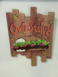 """Over Stuffed"": Acrylic on oak wood slats - by Patricia Low. 12"" x 17"". Starting bid $50"