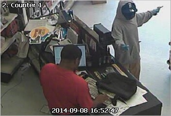 Surveillance image from the third armed robbery, Monday, Sept. 8. (via NOPD)