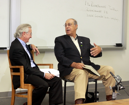Tulane professor Charles Figely interviews retired Lt. Gen. Russell Honore at the School of Social Work on Monday, Nov. 10. (Robert Morris, UptownMessenger.com)
