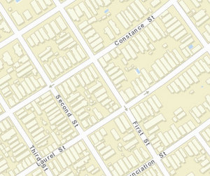 The 900 block of First sits between Constance and Laurel. (map via NOPD)