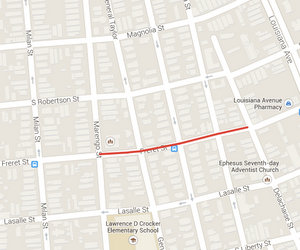 Freret Street will be closed between Marengo and Delachaise streets for a week. (map via Google)