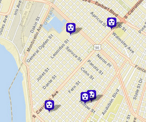 Five armed robberies have been reported in the Carrollton area since Dec. 4. (map via NOPD)