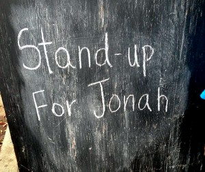 The La Nuit Comedy Theater's chalkboard (Jamal Melancon, Uptown Messenger.com)