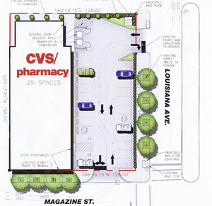 A site map of the proposed CVS at Magazine and Louisiana presented by developers on Tuesday. (design by Linfield, Hunter and Junius architects)
