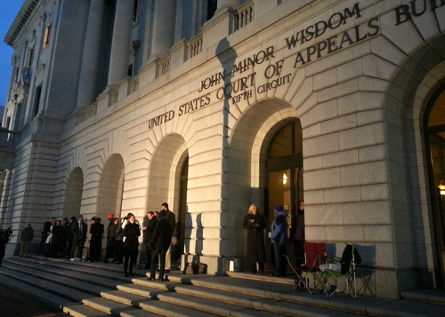 Same-sex marriage supporters began lining up outside the Fifth Circuit Court of Appeals before dawn on Friday to secure a seat in the courtroom. (Robert Morris, UptownMessenger.com)