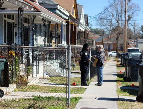 NOPD investigators record evidence after the fatal shooting of a 25-year-old woman Tuesday morning in the 3700 block of Willow Street. (Robert Morris, UptownMessenger.com)