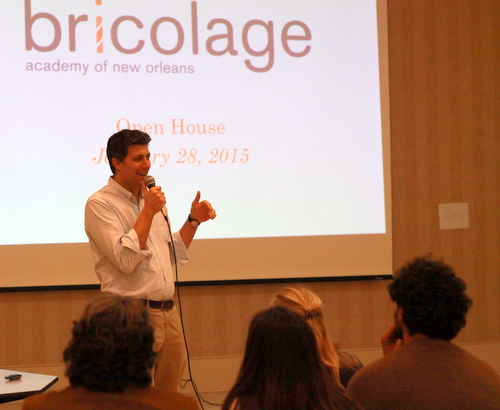 Josh Densen of Bricolage Academy speaks at an open house at the Touro Synagogue campus on Jan. 29. Bricolage is moving out of Touro this year, and Cypress Academy is moving in. (Robert Morris, UptownMessenger.com)
