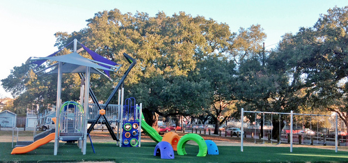 A sneak peek at the new playground equipment at Samuel Square. (Jean-Paul Villere for UptownMessenger.com)